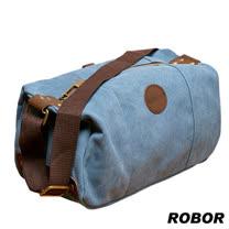 韓系型男 ROBOR摩登風潮長筒型休閒包/側背/斜背包(藍色)