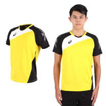 (男) ASICS 運動排汗短T恤 -慢跑 羽球 排球 黃黑