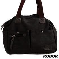 韓系型男 ROBOR法式時尚側背/手提/斜背三用包(黑灰)