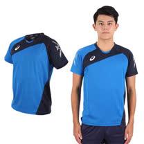 (男) ASICS 運動排汗短T恤 -慢跑 羽球 排球 藍丈青