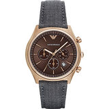 Emporio ARMANI 亞曼尼紳士風計時腕錶-咖啡x灰/44mm AR1976