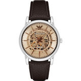 Emporio Armani Meccanico 雅爵鏤空機械腕錶-咖啡/43mm AR1982