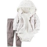美國 Carter / Carter's 嬰幼兒秋冬暖外套包屁衣長褲三件組_雅緻花園_CTBC044