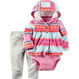 美國 Carter / Carter's 嬰幼兒秋冬暖外套包屁衣長褲三件組_桃粉幾何_CTGC042