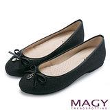 MAGY 清新甜美女孩 金蔥亮布蝴蝶結平底娃娃鞋-黑色