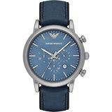 Emporio Armani Classic 都會計時石英腕錶-藍/46mm AR1969