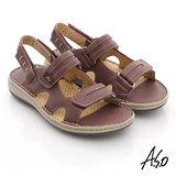 【A.S.O】3D奈米系列 全真皮自黏帶氣墊涼鞋(淺紫)