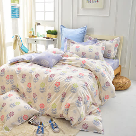 IN HOUSE-Mario s Flower-200织精梳棉-四件式两用被床包组(加大)