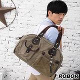 韓系型男 ROBOR舞動優雅側背/手提/斜背三用包(軍綠)