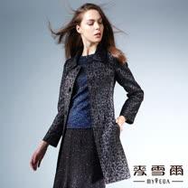 【麥雪爾】動物紋羊毛長版外套