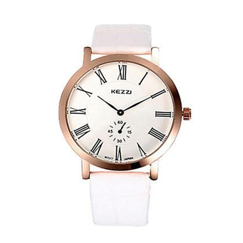 【KEZZI】簡約主義羅馬數字雙眼指針女錶-白