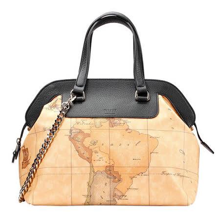 Alviero Martini 義大利地圖包 鏈帶手提肩背包(大)-地圖黃/黑