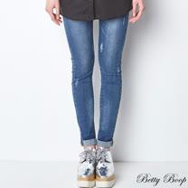 【Betty Boop貝蒂】褲管反摺彈性刷白牛仔長褲(藍色)