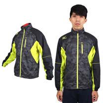 (男) MIZUNO 風衣外套 - 防風 保暖 美津濃 立領外套 黑芥末黃