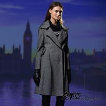 【克萊亞KERAIA】黑白格紋翻領長版大衣外套