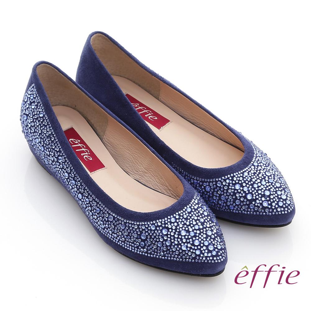 【effie】濃情藝文 水鑽絨面羊皮內增高鞋(藍)