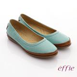 【effie】輕量樂活 真皮裂紋雙色奈米平底鞋(淺綠)