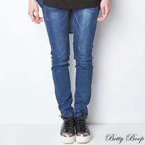 【Betty Boop貝蒂】後亮粉徽章彈性牛仔長褲(藍色)