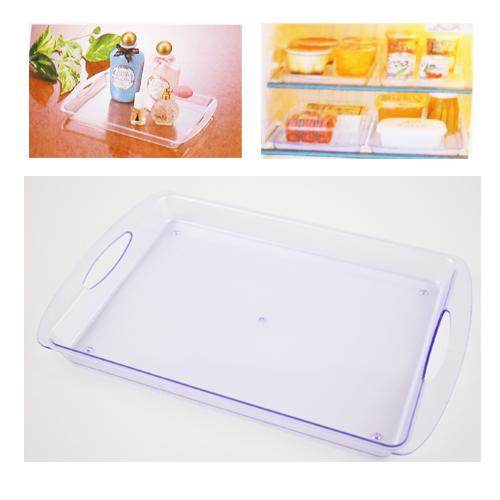【KM 】雙提把透明淺盤長方形收納盤 顏色