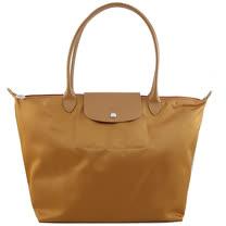 Longchamp 厚質尼龍布長帶水餃包(黃色/大)