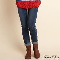 【Betty Boop貝蒂】彈性磨毛刷白抓破牛仔長褲(藍色)
