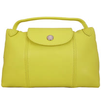 Longchamp Le Pliage Cuir 小羊皮迷你斜背包/郵差包(黃色)