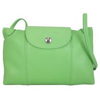 Longchamp Le Pliage Cuir 小羊皮迷你斜背包/郵差包(綠色)
