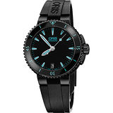 Oris Aquis 時間之海中型潛水機械錶-鍍黑x藍/36mm 0173376524725-0741834B