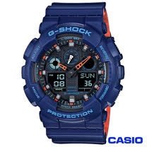 CASIO卡西歐 G-SHOCK超人氣大錶徑雙層撞色設計腕錶 GA-100L-2A