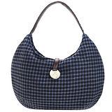 agnes b圓牌格紋棉布肩背包(藍)