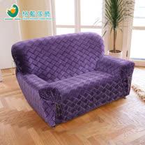 【格藍傢飾】莎曼3D絨毛彈性沙發套2人座-紫