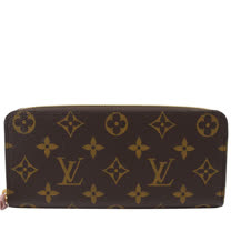Louis Vuitton LV M61298 Clemence 經典花紋拉鍊長夾.粉_預購
