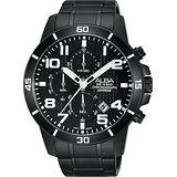 ALBA ACTIVE 活力運動計時腕錶-鍍黑/45mm VD57-X061SD(AM3255X1)