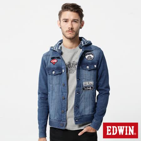 EDWIN 江戶勝 中性復刻牛仔外套-男款-重漂藍