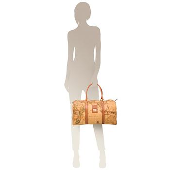 Alviero Martini 義大利地圖包 手提肩背旅行袋(大)-地圖黃
