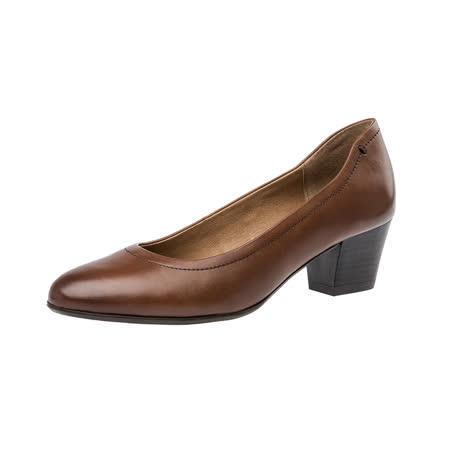 【Kimo德國手工氣墊鞋】簡約素色淺口舒適淑女跟鞋(城市棕D5416WF008018)
