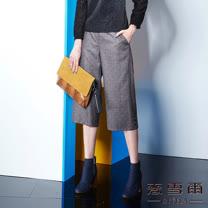 【麥雪爾】格紋口袋重點單品寬褲