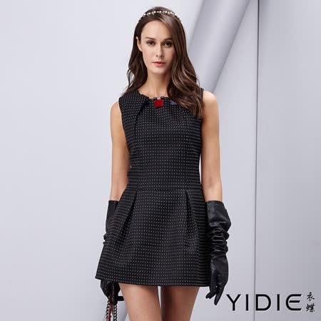 【YIDIE衣蝶】圓領點點壓摺口袋洋裝
