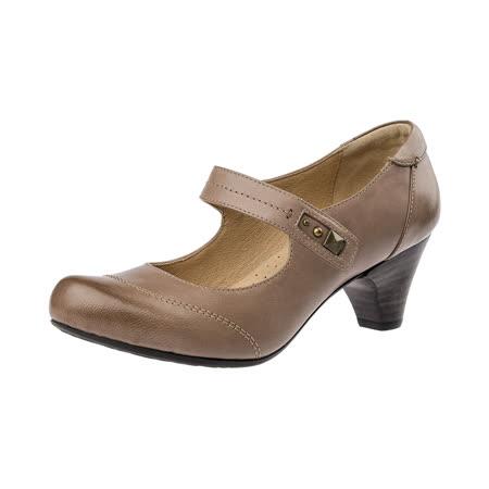 【Kimo德國手工氣墊鞋】質感金屬鉚釘設計繫帶低跟舒適氣墊淑女跟鞋(氣質米K16WF032570)