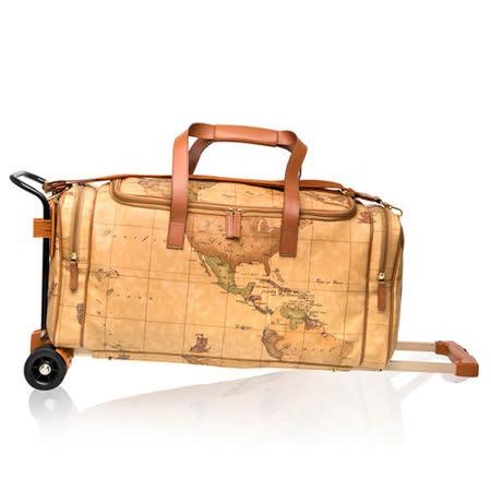 Alviero Martini 義大利地圖包 可推式手提側背旅行包(大)-地圖黃