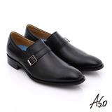A.S.O 菁英通勤 小牛皮飾帶奈米紳士皮鞋(黑)