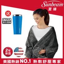 美國Sunbeam柔毛披蓋式電熱毯(氣質灰)※贈TWINBIRD兩用吸塵器TC-5121TW