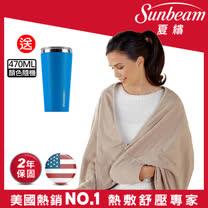 美國Sunbeam柔毛披蓋式電熱毯(優雅駝)※贈TWINBIRD兩用吸塵器TC-5121TW