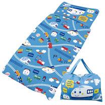 【享夢城堡】梳棉舖棉冬夏兩用4X5兒童睡袋-Shinkansen新幹線 鐵道樂園-藍