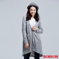 BOBSON 女款黑點花紗長版外衣(36097-82)