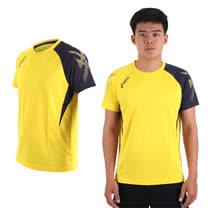 (男) ASICS 排羽球短袖T恤-排球 羽球 訓練 亞瑟士 黃丈青