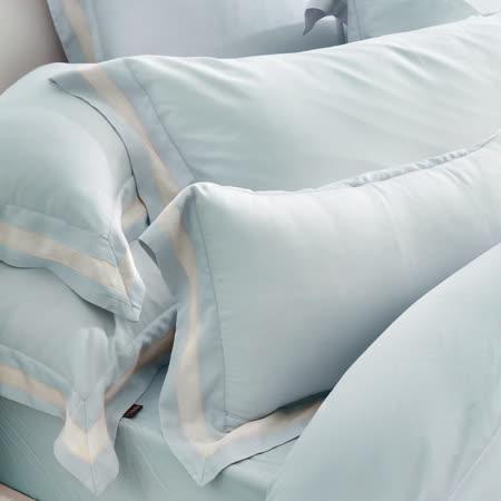 義大利La Belle《法式簡約-藍》加大天絲拼接四件式防蹣抗菌舖棉兩用被床包組