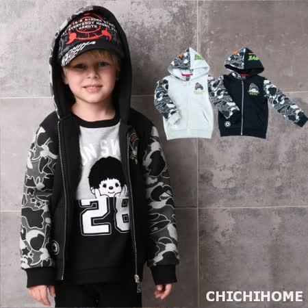 【蒙奇奇】迷彩印花拼接連帽棒球外套(共二色)