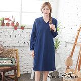 【Tiara Tiara】激安 素色V領長袖洋裝(藍)