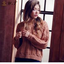 玄太-寬鬆暖系V領柔感麻花毛衣(粉)